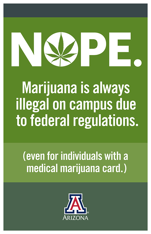 Marijuan ais always illegal on campus due to federal regulations. Even if you have a medical marijuana card.