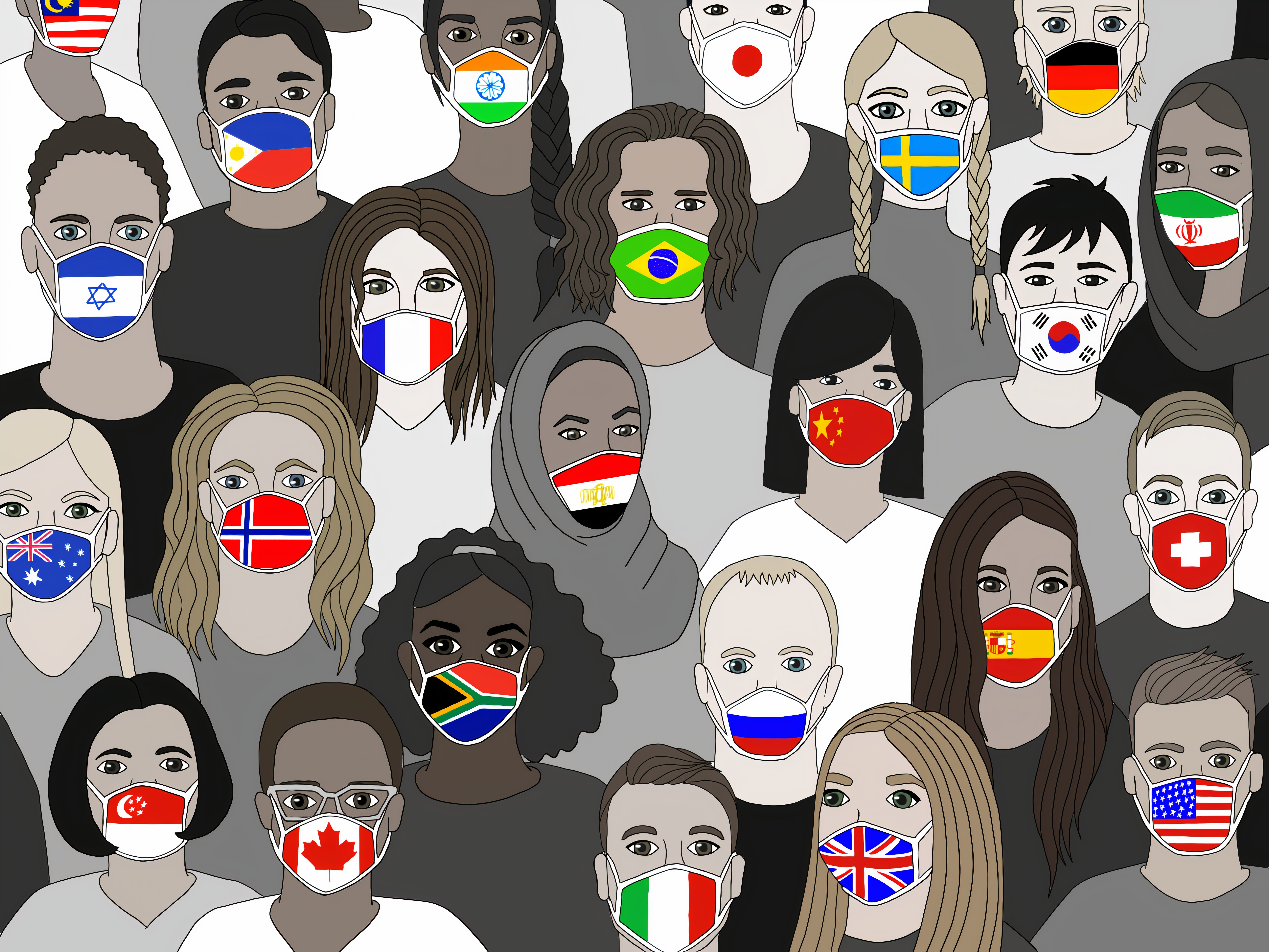 Illustration of people wearing masks featuring flags from nations around the world.
